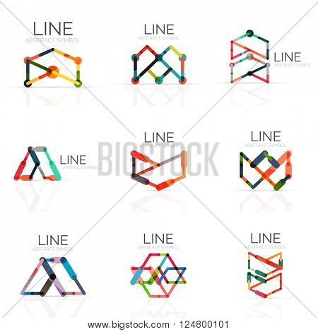 Set of linear abstract logos, connected multicolored segments of lines in geometrical figures. Vector wire business icon collection isolated on white