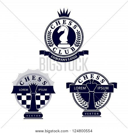 Set vector chess clubs version of logo. Design for decoration tournaments sports cups logos business cards. Black white. Logo emblems badges - design chess events.