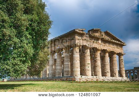 Temple of Neptune.  Paestum archaeological  site in Italy