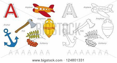 Tracing Worksheet for children. Full english alphabet from A to Z, pictures for letter A
