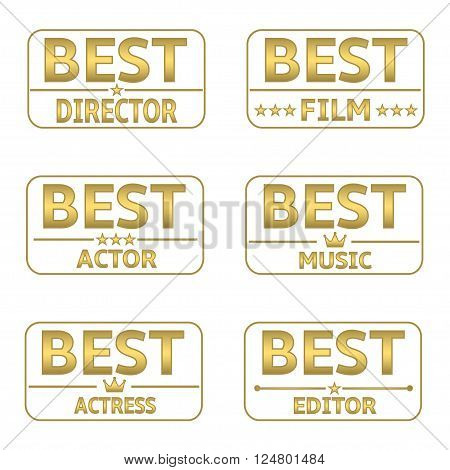 Golden Award set. Best director, best film, best actor, best music, best actress, best editor