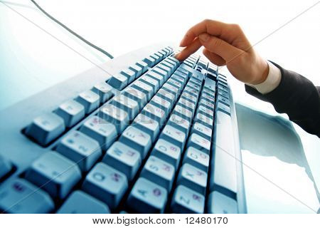 girl hands typing