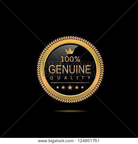 Genuine quality badge. Golden label, Vector illustration