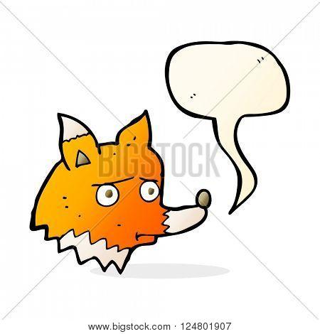 cartoon unhappy fox with speech bubble