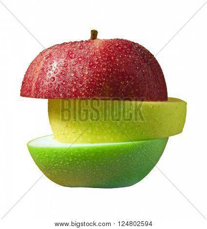 three slices of apple
