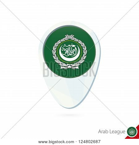 Arab League Flag Location Map Pin Icon On White Background.