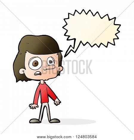 cartoon worried boy with speech bubble