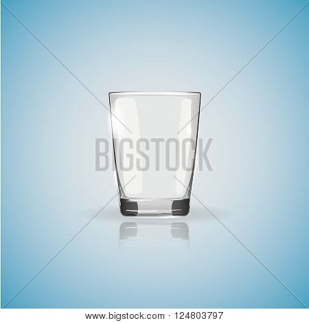 Empty glass tumbler and its reflection on blue background