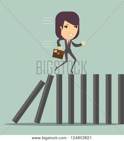 domino effect and problem solving, vector illustration