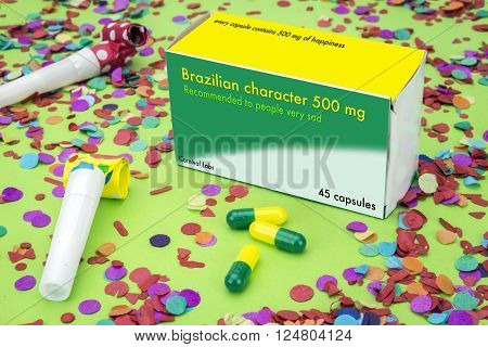 Open medicine packet labelled Brazilian character it's a medical fake product
