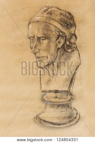 Hand drawn head, Illustration half face. Gypsum bust drawn in pencil. Profile portrait. Bust of Voltaire by Houdon
