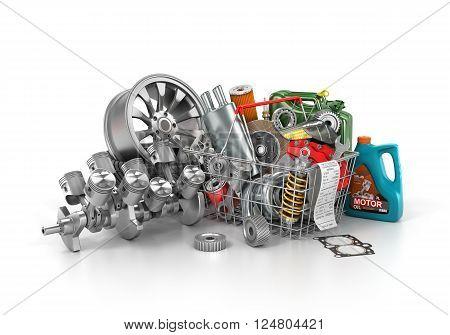 Basket from a shop full of auto parts. Auto parts store. Automotive basket shop. 3d illustration