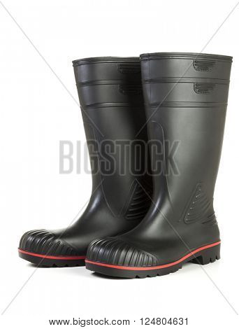 Black wellington boots isolated on white background
