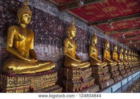 Golden Buddhas In Wat Suthat, Bangkok