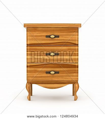 Wooden bedside table isolated on white background. 3d illustration