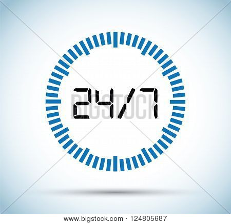 a black and blue twenty four seven countdown