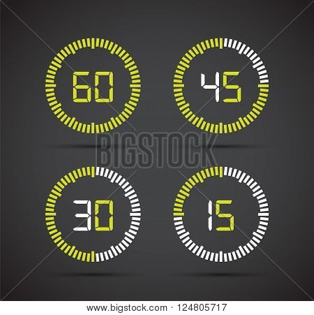 a set of four timer count downs