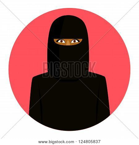 Rose round icon of smiling muslim girl in hijab.