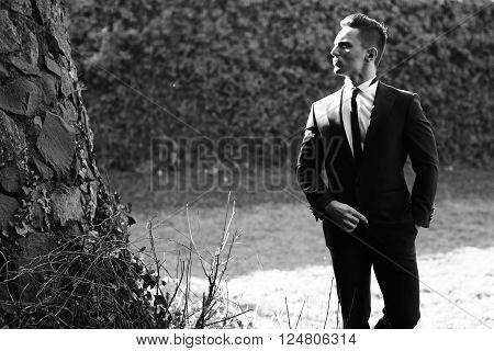 Man half face young handsome elegant model in suit with skinny necktie poses with hand in trouser pocket one leg backward black and white on landscape on grey background
