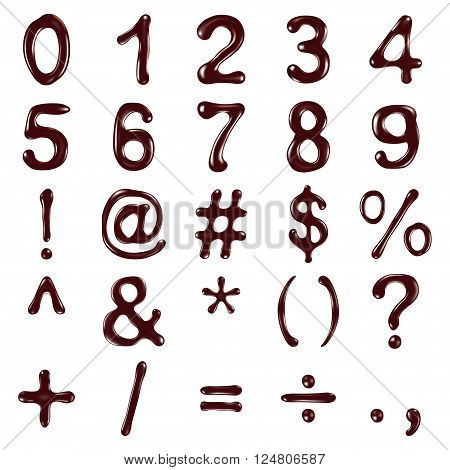 Numbers and symbols written with chocolate syrup,  vector illustration