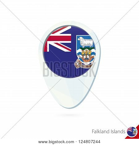 Falkland Islands Flag Location Map Pin Icon On White Background.
