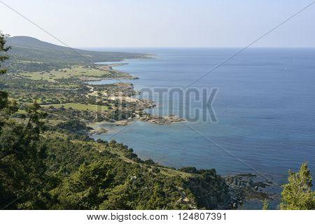 Coast view to Fontana Amoroza Akamas Peninsula Cyprus