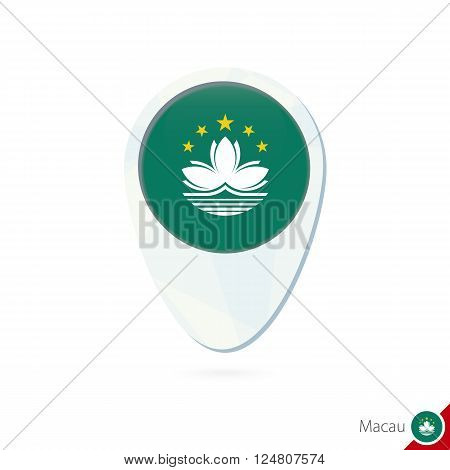Macau Flag Location Map Pin Icon On White Background.
