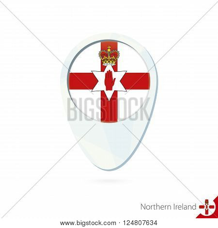 Northern Ireland Flag Location Map Pin Icon On White Background.