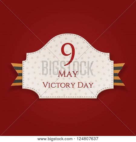 Victory Day greeting Card Template. Realistic Emblem with st. George Ribbon. Vector Illustration
