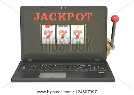 Online gambling concept with laptop 3D rendering