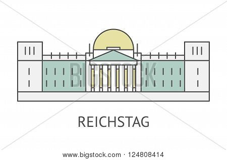 Flat vector retro illustration Reichstag in Berlin, Germany. Famous Berlin symbol line icon