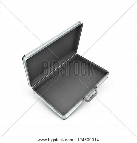 3d illustration of an open metal case with black handle isolated on white