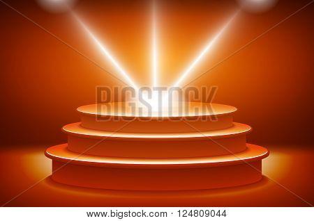 Orange Illuminated Stage Podium For Award Ceremony Vector Illustration