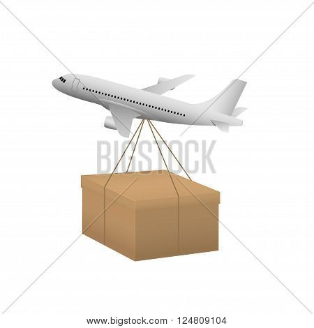 Air transportation. Delivery and shipping concept. Airplane and cardboard box