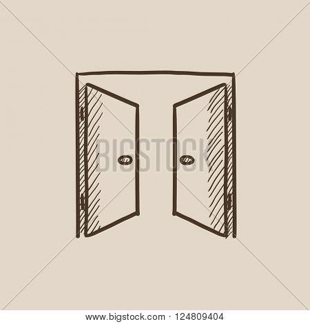 Open doors sketch icon.