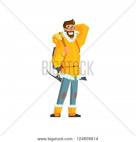 Mountaineer With Pickaxe Flat Colorful Vector Illustration In Primitive Geometric Style Isolated On White Background