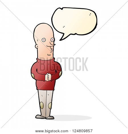 cartoon funny bald man with speech bubble