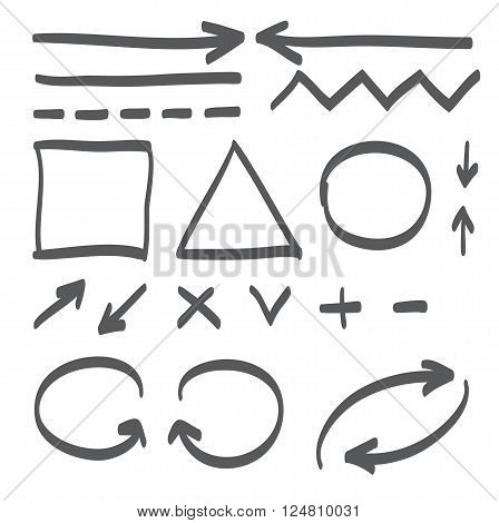 Hand Drawn Arrows Vector Set Icon Illustration.
