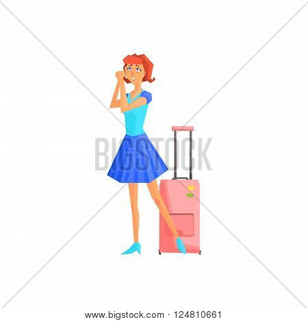 Female Tourist With Suitcase Flat Colorful Vector Illustration In Primitive Geometric Style Isolated On White Background