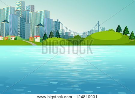 Scene with buildings and river illustration