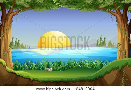 Scene with sunset at the lake illustration