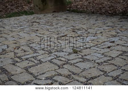Pavement made of stones, cobbles and gravel