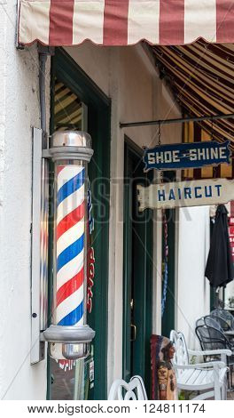 Old Fashioned Barber Pole Outside Barber Shop in Portland