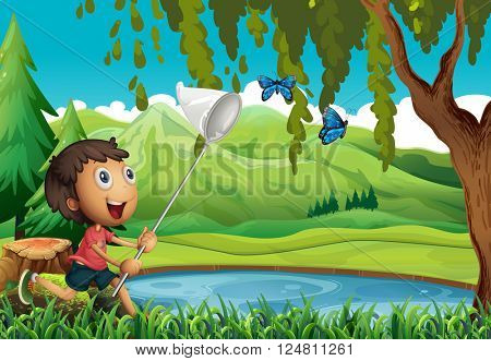 Boy catching butterflies with net illustration