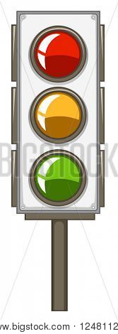 Traffic lights with pole illustration