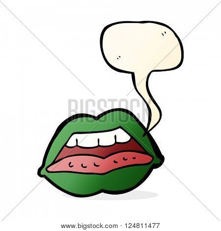 cartoon sexy halloween lips symbol with speech bubble