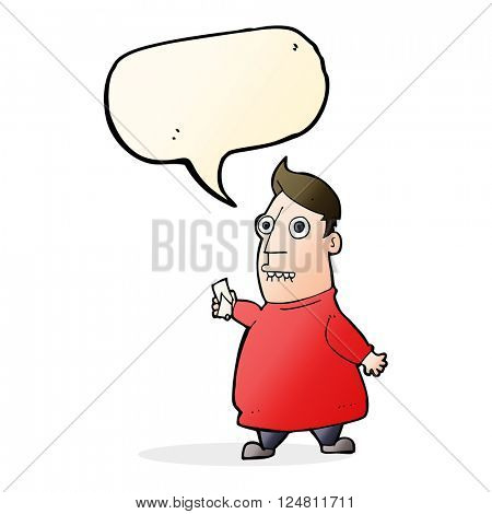cartoon nervous man with tickets with speech bubble