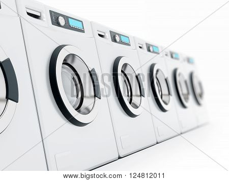 Washing machine arranged in a line isolated on white background