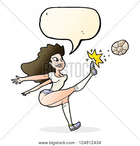 cartoon female soccer player kicking ball with speech bubble