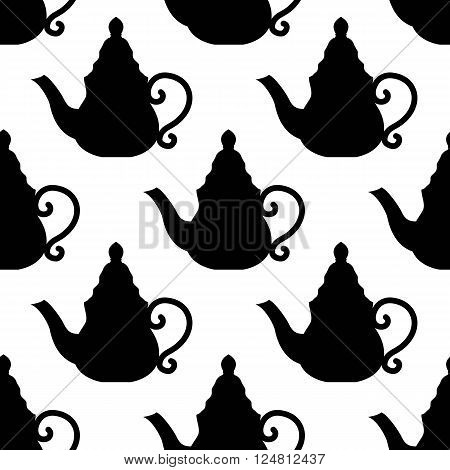 seamless of moroccan teapot on white background. vector illustration